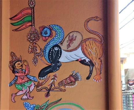 Navagunjar, a form of Vishnu or Krishna, painted on the side of a house in Puri, Odisha