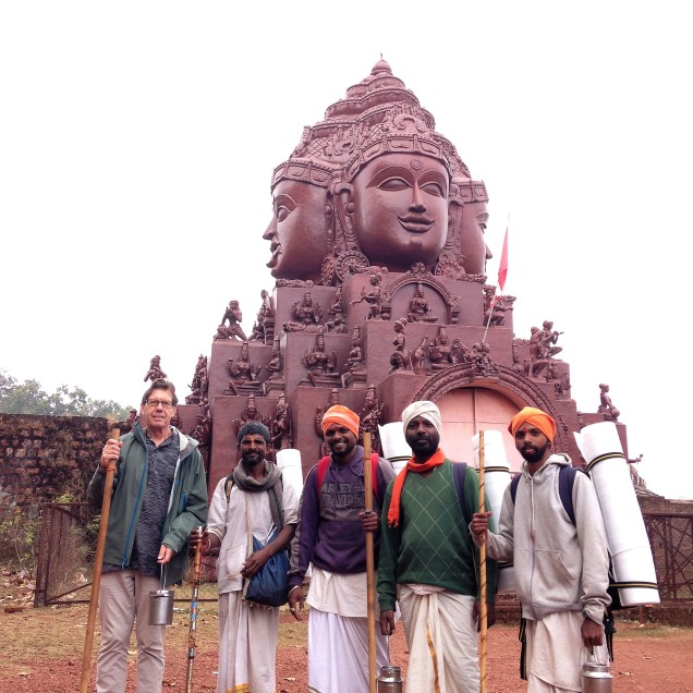 Alan with the young parikramavasis at the tantric temple.
