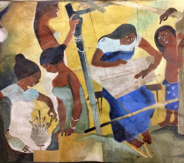 Painting detail, women weaving in Bodo village, Assam State Museum, Guwahati, Assam