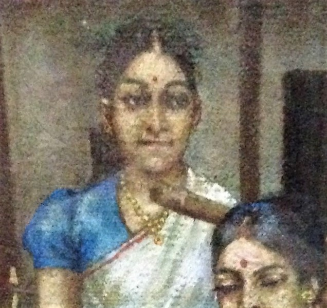 Detail of lady's face in a painting of a rural village scene, Assam State Museum, Guwahati, Assam