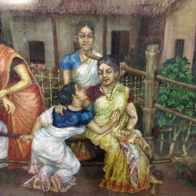 Gossiping ladies in a painting of a rural village. Assam State Museum, Guwahati, Assam