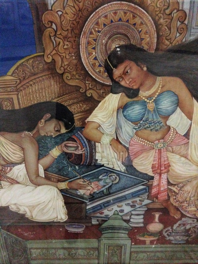Painting of a lady artist and watching lady, Assam State Museum, Guwahati, Assam