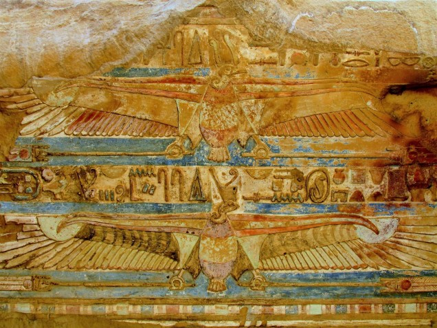 The remains of elaborate paint on a ceiling of the Kom Ombu temple in Aswan, Egypt.