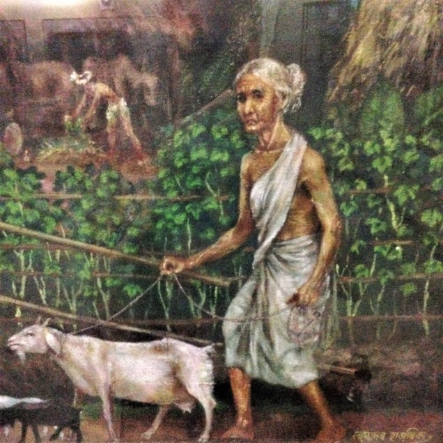 Detail of a painting of a rural village. Detail shows a poor old lady leading a goat. Assam State Museum, Guwahati, Assam