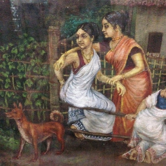 Two rich and stylish ladies, detail of a painting of a rural village, Assam State Museum, Guwahati, Assam