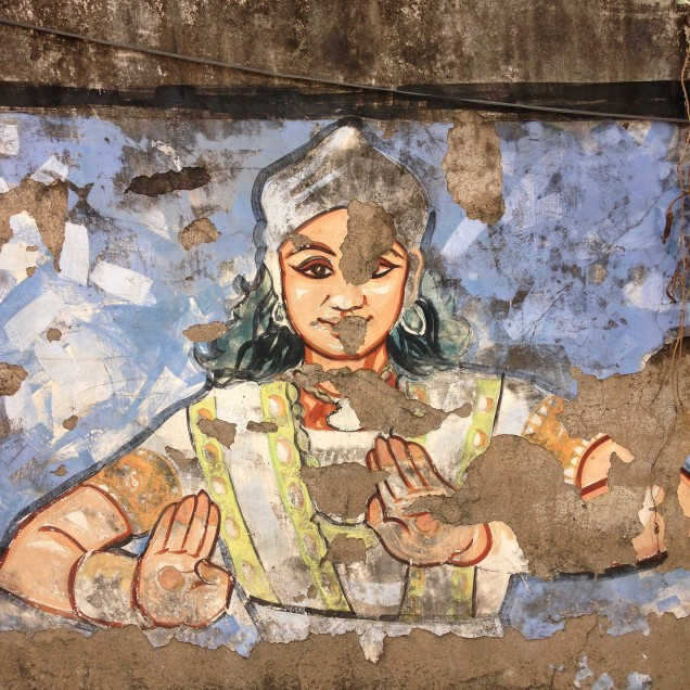 Temple dancer in wall mural, Guwahati