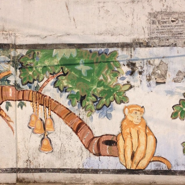 Monkey and bells on wall mural, Guwahati