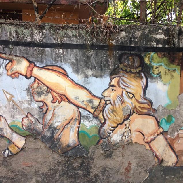 Militant rishis on wall mural, Guwahati