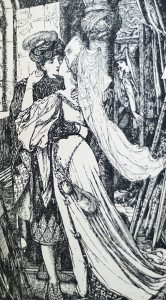 An illustration from one of the Andrew Lang fairy tale books -- a prince kissing a princess.