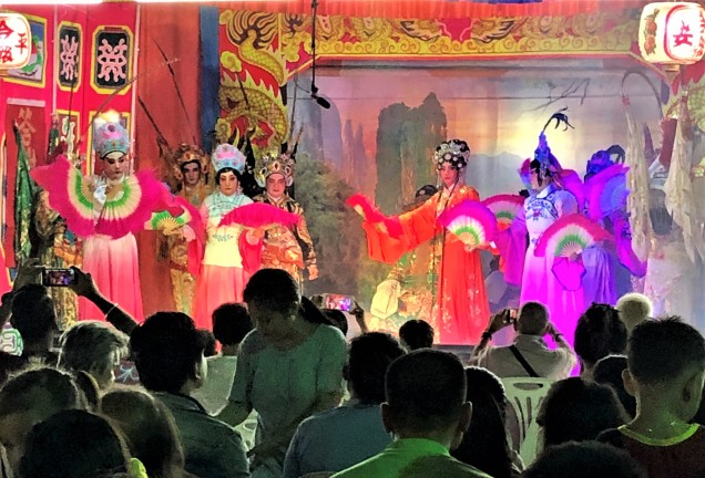 Fan dance at Chinese opera, Vientiane, Laos