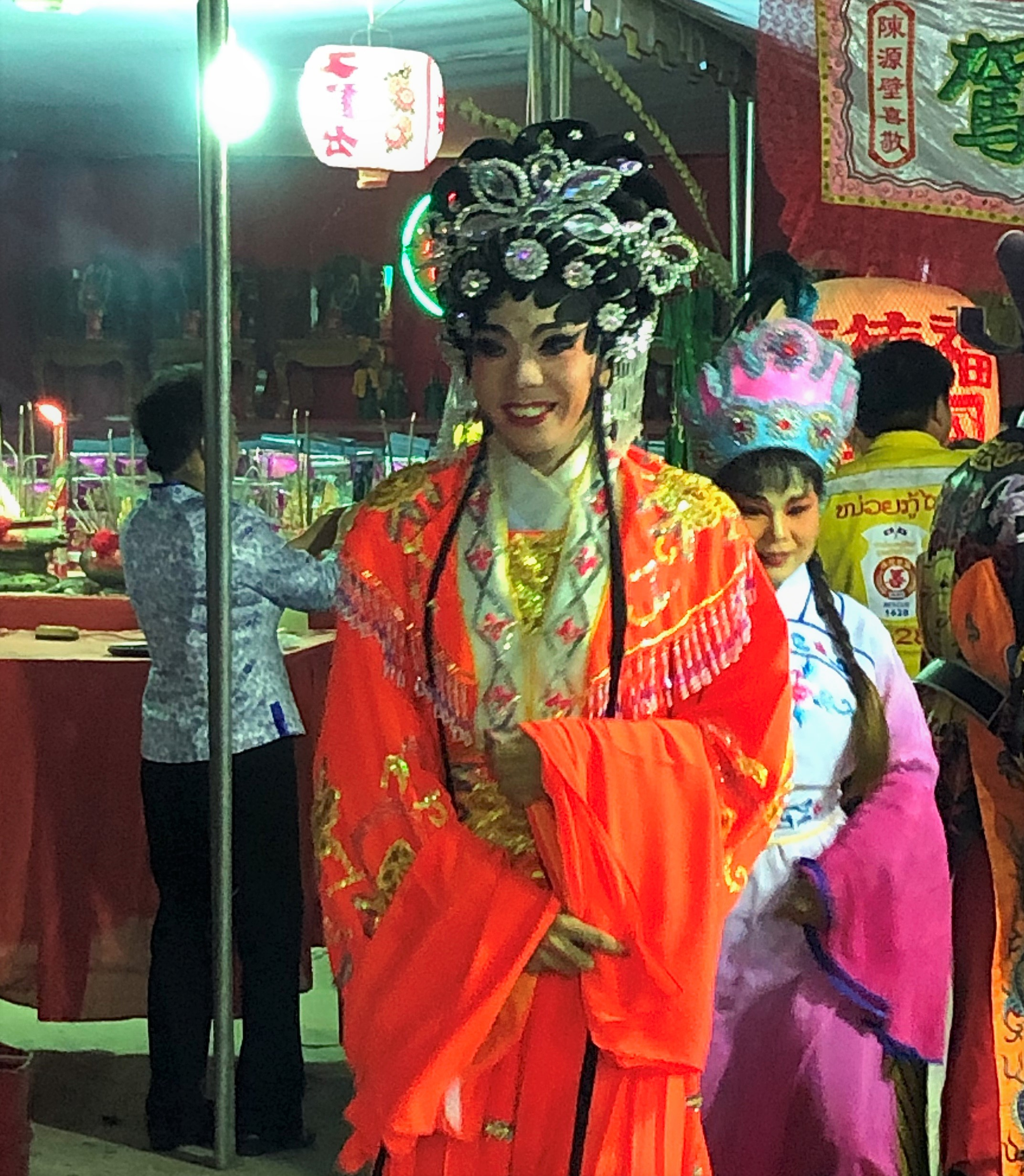 Tall female actor at Chinese opera, Vientiane, Laos